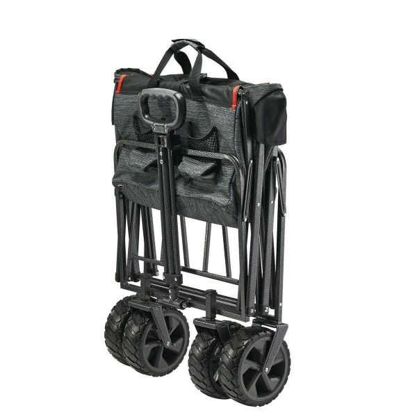 XL Steel 4 Wheels Folding Wagon with Cargo Net and Collapsible Cart
